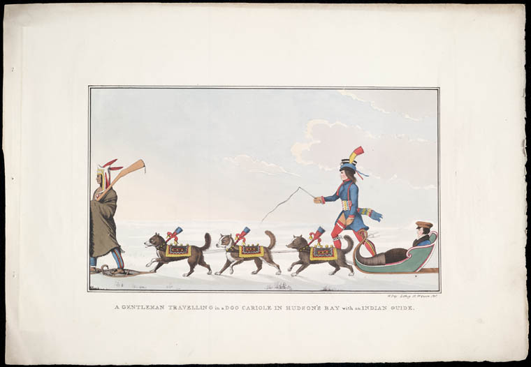 Gentleman Travelling in a Dog Carriole by Peter Rindisbacher 1825 - Library and Archives Canada, Acc. No. R9266-1052.2 Peter Winkworth Collection of Canadiana